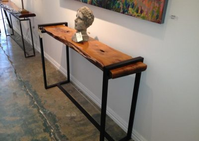 Bois D'Arc Wood and Steel Console Table