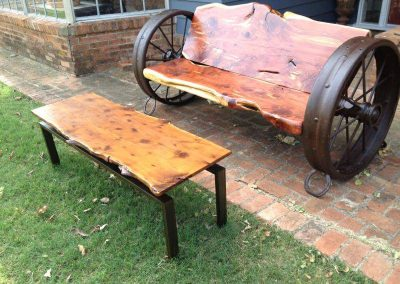 Cedar and Wagon Wheel Bench and Table