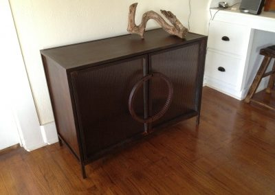 Steel and Reeded Glass Cabinet 2