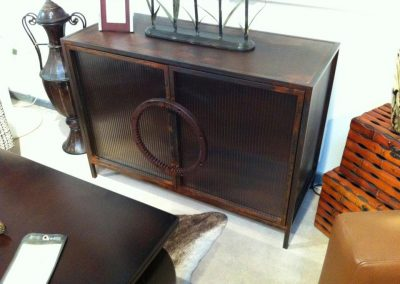 Steel and Reeded Glass Cabinet